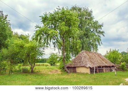 Ukrainian Wooden Barn Thatched