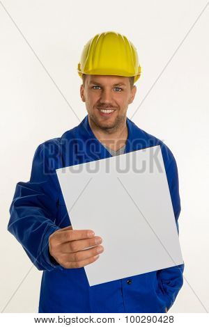 workers in a commercial enterprise with helmet in front of white background