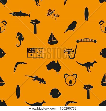 Australia Country Theme Symbols Seamless Pattern Eps10