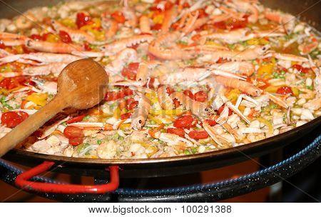 Spanish Paella With Prawns And Rice