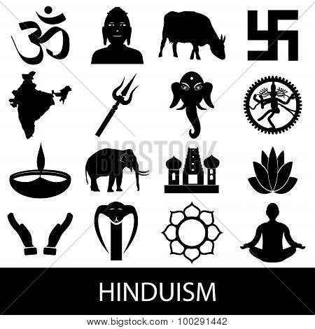 Hinduism Religions Symbols Vector Set Of Icons Eps10