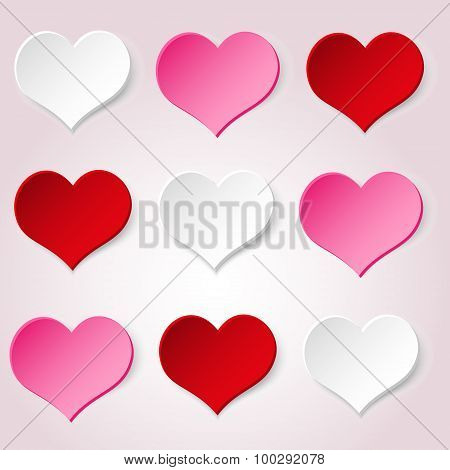White Red And Pink Valentine Hearths From Paper Decoration Element Eps10