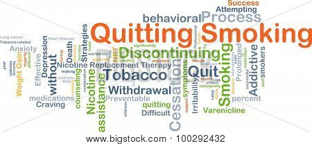 Background concept wordcloud illustration of quitting smoking
