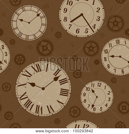 Clocks and gears vector distressed seamless pattern.