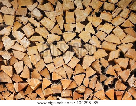 Stack of firewood pattern background