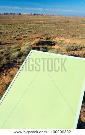Green signal in an arid landscape, Belchite, Zaragoza province, Aragon, Spain.
