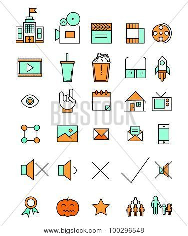 Cinema and movie industry line icons set flat design. Web elements in linear style. Vector illustrat