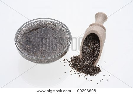 Chia Gel Or Gel, Chia Seeds Are Swollen Prior To Use In Water