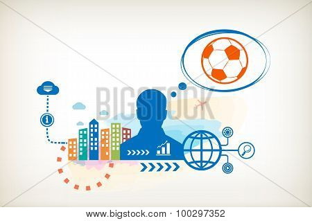 Football Bal And Person With Bubbles For Dialogue.