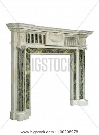 Stunning Fireplace Surround In Green White Marble Antique Victorian Isolated