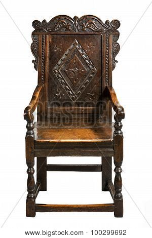 Wainscot Chair, Second Half 17Th Century Carved Oak