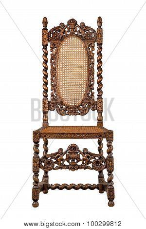 Walnut Chair Carved Heavily Isolated On White