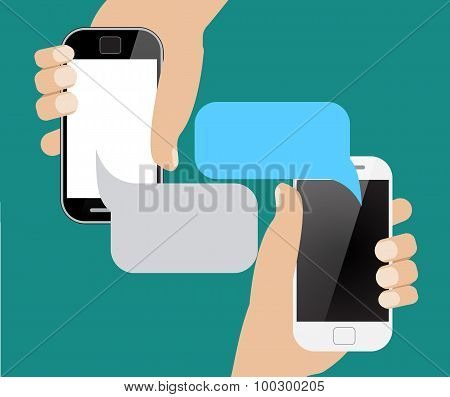 Hands holing smartphone with blank speech bubble for text.