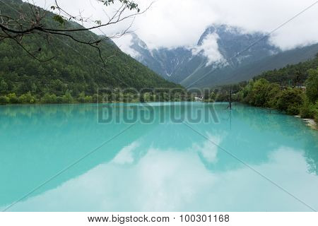 lake in jade dragon snow mountain in Lijiang, China