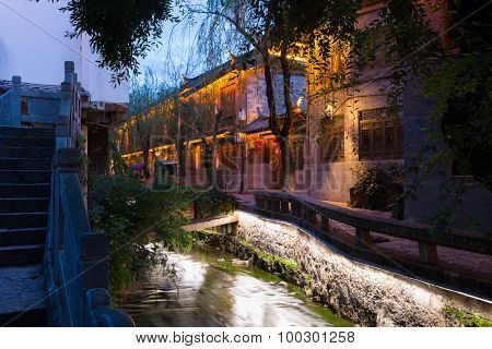 Lijiang old town in early evening, China.