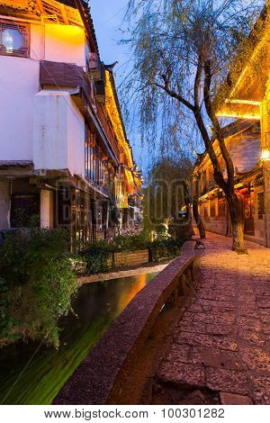 Lijiang old town in early evening in Yunnan Province, China