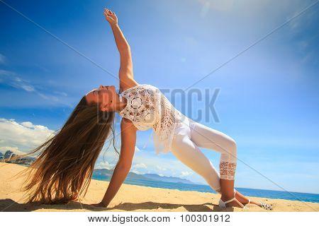 Girl In Lace Wind Shakes Hair Yoga Asana Arm Balance Leg Cross