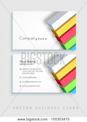 Two sided presentation of professional business card set with colorful bars.