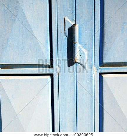 Blue Hinges      Rusty      Morocco In Africa The Old Wood  Facade Home And Safe Padlock