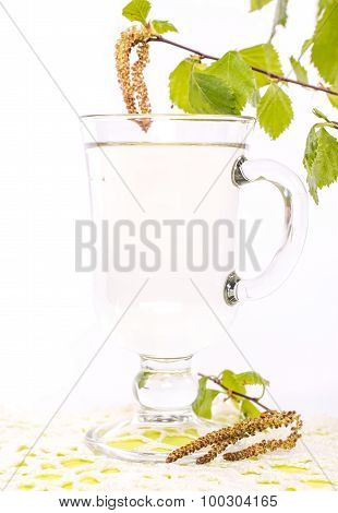 transparent cup of birch sap Isolated on white background