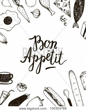 Vector Bon Appetit graphic poster with food illustrations.