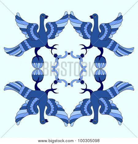 Ornamental Vector Illustration Of Mythological Birds. Blue Template. Gzhel Style. Folkloric Motive.