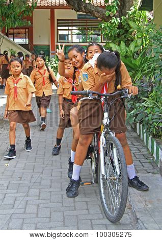 some schoolchildren are preparing to the lesson in school, Bali