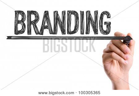 Hand with marker writing the word Branding