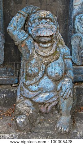 Close up of a traditional Balinese God statue