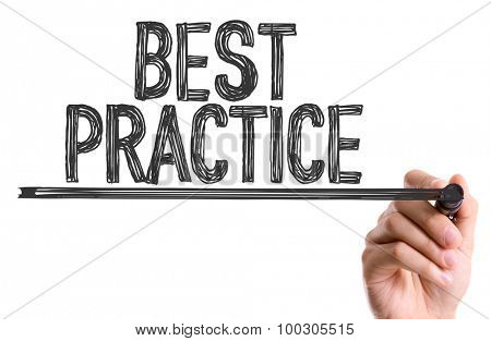 Hand with marker writing the word Best Practice