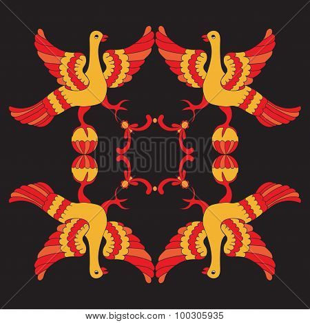 Ornamental Vector Illustration Of Mythological Birds. Red And Yellow Phoenix Birds On The Black Back