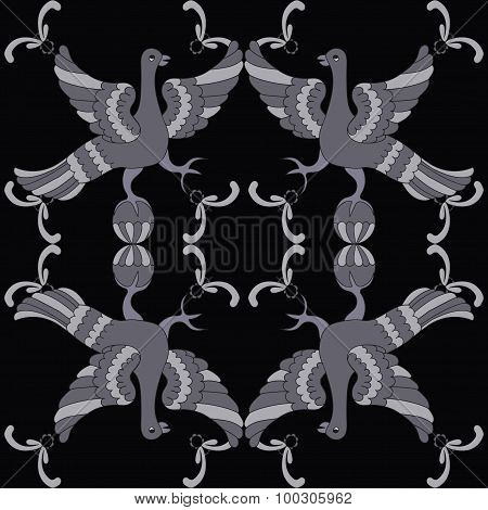 Ornamental Vector Seamless Pattern With Mythological Birds. Gray Birds On The Black Background.