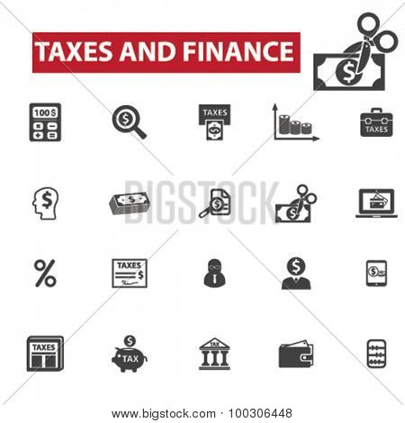 Taxes, finance concept icons: accounting,  money,  tax forms,  taxi,  taxation,  tax return,  accountant,  calculator,  finance. Vector illustration