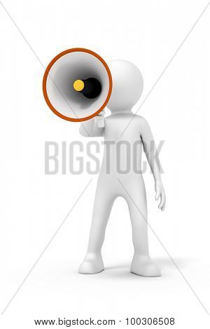 An image of a man with a megaphone