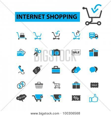 Internet shopping concept icons: online shopping,  e-commerce,  internet marketing, ecommerce,  online store,  online shopping icons,  shopping cart. Vector illustration