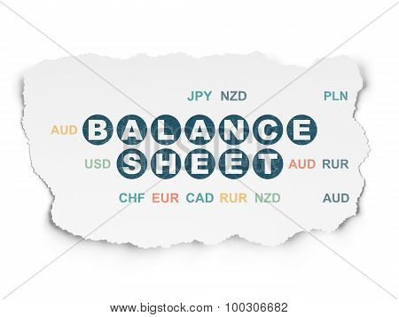 Currency concept: Balance Sheet on Torn Paper background