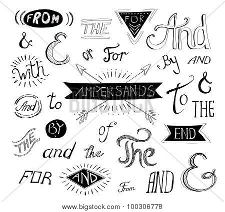 Vintage style hand lettered ampersands and catchwords for logo or label designs.