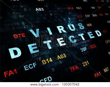 Protection concept: Virus Detected on Digital background