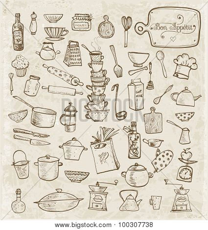 Big set of kitchen vintage sketch utensils