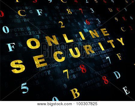 Safety concept: Online Security on Digital background