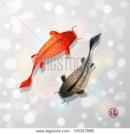Red and black koi carps in Japanese style
