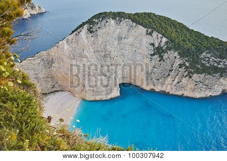 Blue waters of Navagio Shipwreck beach, Zakynthos
