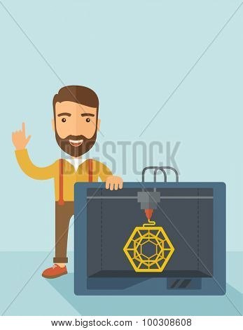 Man with industrial 3D printer. A Contemporary style with pastel palette, soft blue tinted background. Vector flat design illustration. Vertical layout with text space on top part.