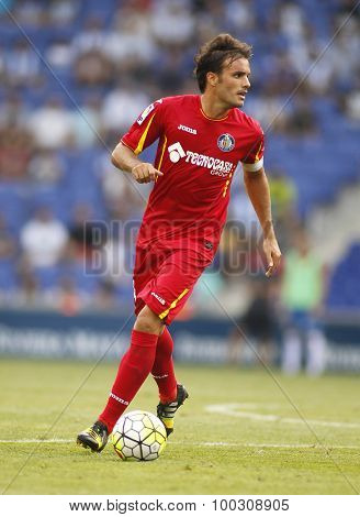 BARCELONA - AUG, 22: Pedro Leon of Getafe CF during a Spanish League match against RCD Espanyol at the Power8 stadium on August 22 2015 in Barcelona Spain