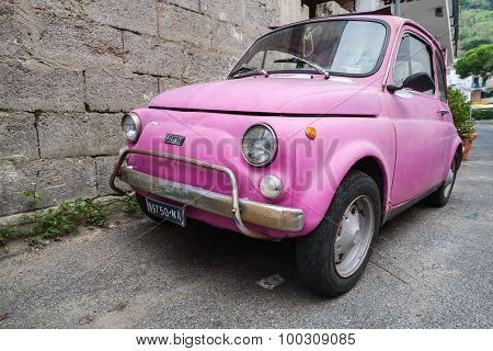 Old Pink Fiat Nuova 500 City Car, Close Up