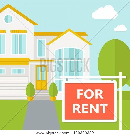 A house with for rent placard. Vector flat design illustration. Square layout.