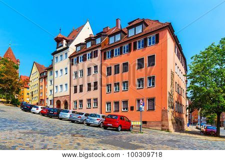 Street with extreme slope in Nurnberg, Germany