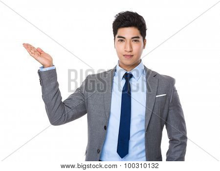 Asian young businessman with open hand plam