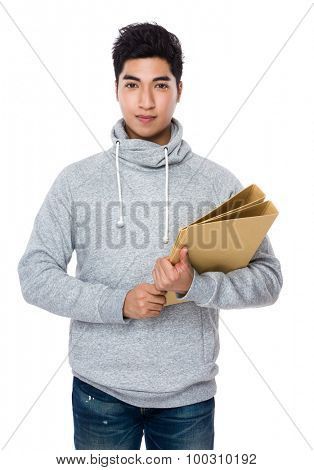 Young man hold with folder board
