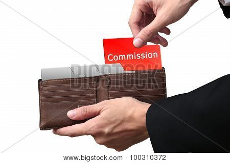 Businessman Hands Pulling Red Folder Commission Concept On Brown Wallet.